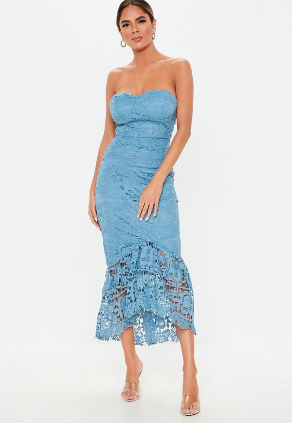 233d863968 Blue Lace Bandeau Bust Cup Midi Dress. Previous Next