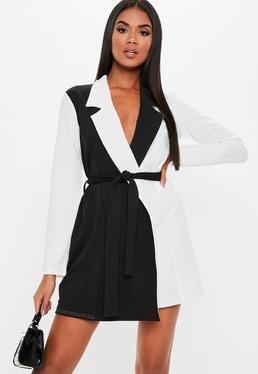 5f872283511 Robe portefeuille courte bicolore blanche à col blazer
