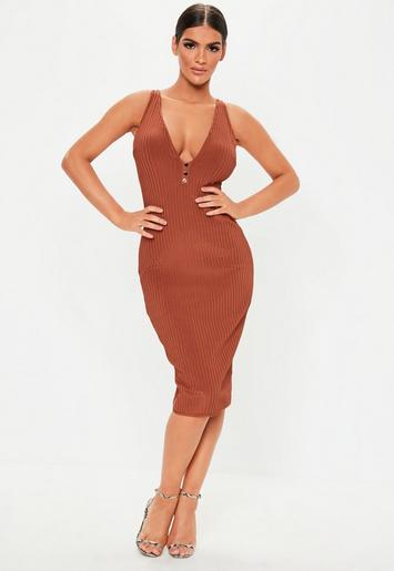 Rust Sleeveless Bandage Popper Bodycon Midi Dress by Missguided