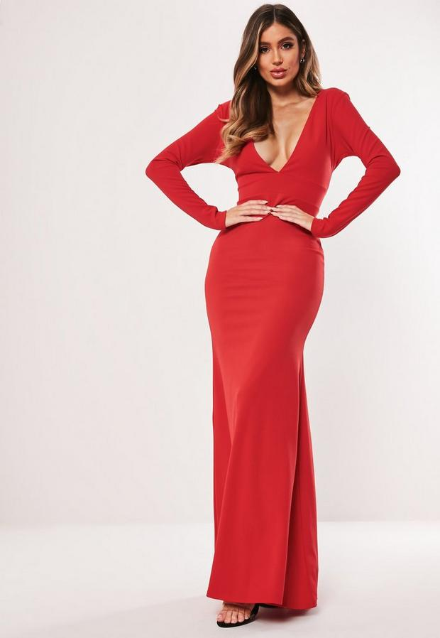 Missguided - Long Sleeve Plunge Maxi Dress - 1