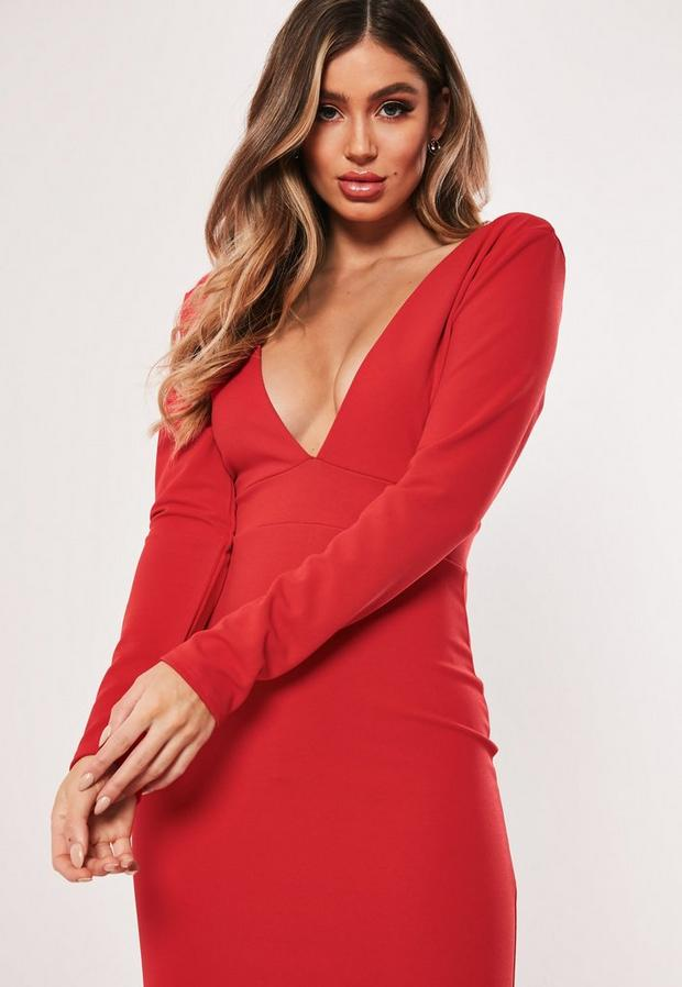 Missguided - Long Sleeve Plunge Maxi Dress - 2