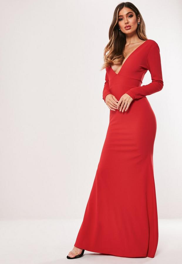 Missguided - Long Sleeve Plunge Maxi Dress - 3
