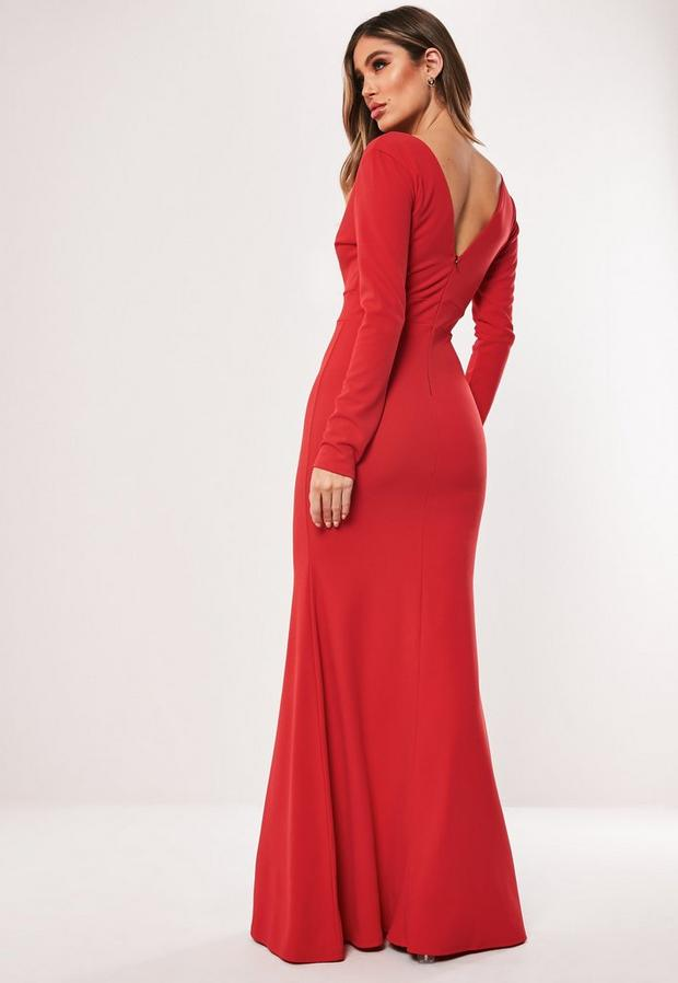 Missguided - Long Sleeve Plunge Maxi Dress - 4