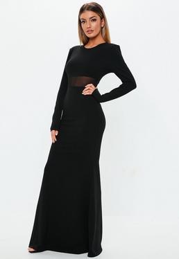 Robe courte noire à manches en tulle Petite · Robe longue noire à manches  longues et détail en tulle 4f00880f0b50