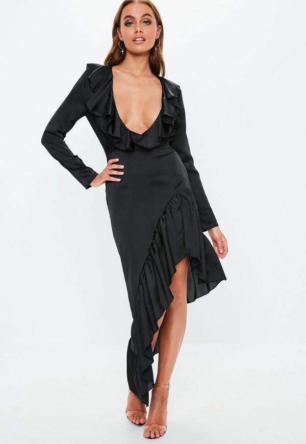 2512da4495bc Black Plunge Satin Frill Midi Dress
