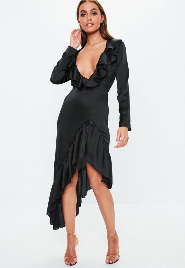 Missguided - Plunge Satin Frill Midi Dress - 2