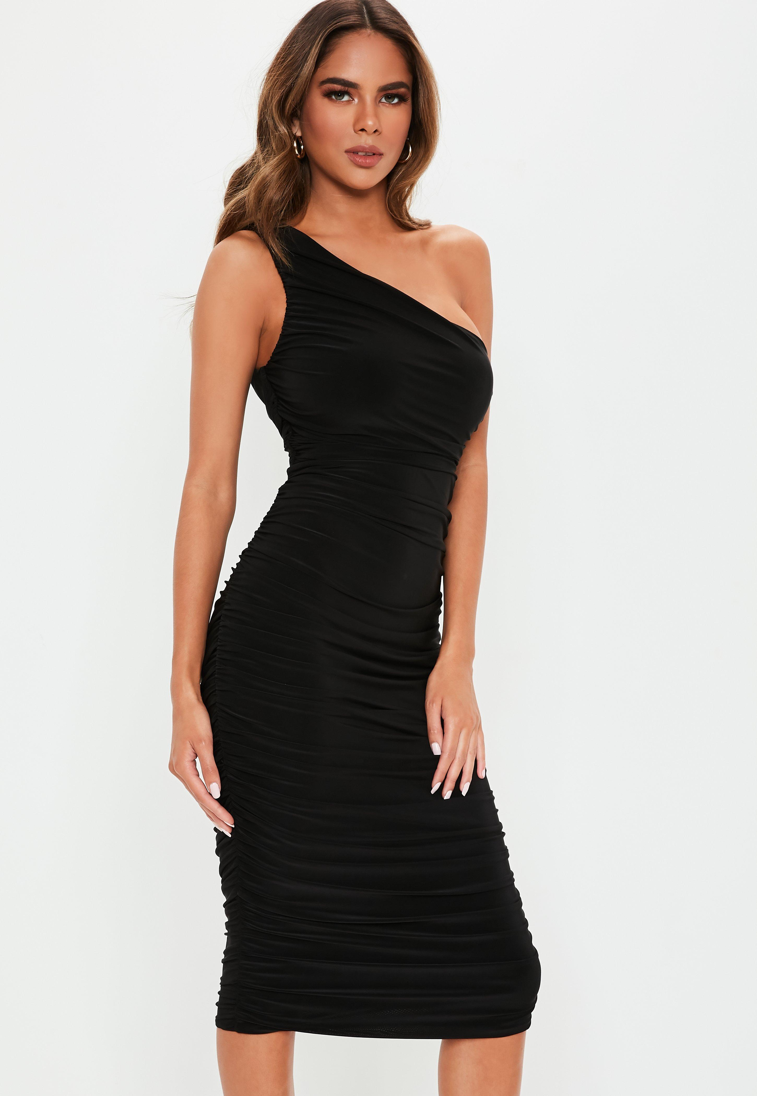 820909ffdbc9 Black Ruched One Shoulder Slinky Midi Dress | Missguided Australia