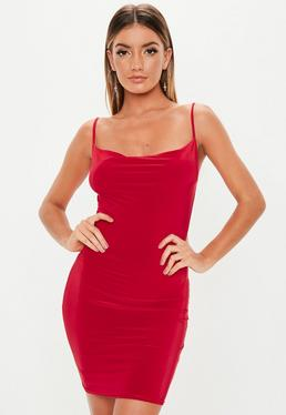 Red Slinky Cowl Neck Mini Dress