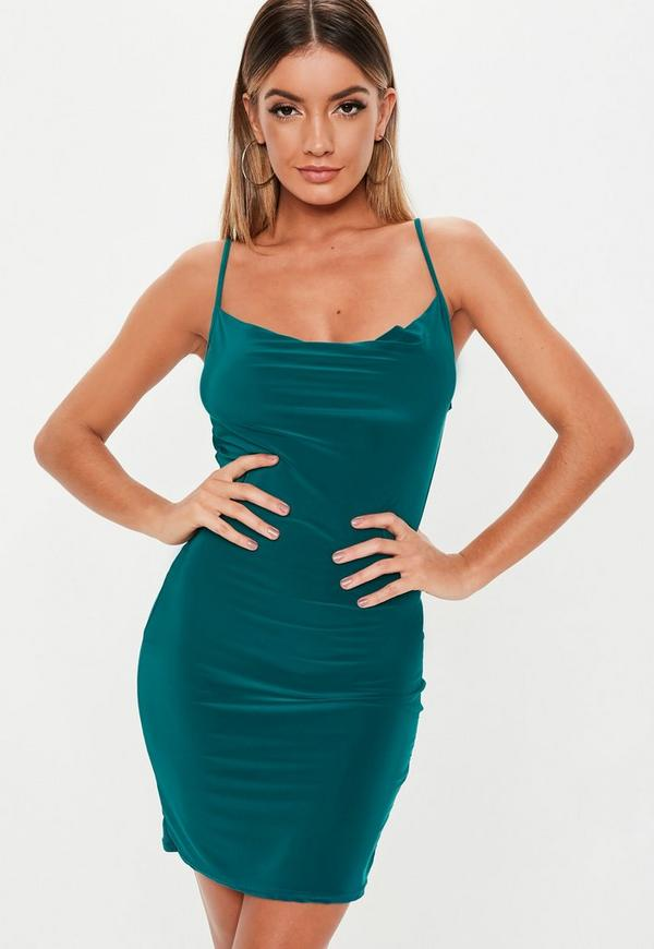 Teal Slinky Cowl Neck Mini Dress by Missguided