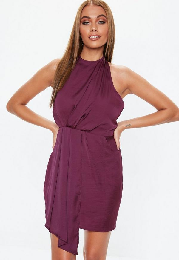 e7b0bb65d3 Oxblood Satin Drape Dress