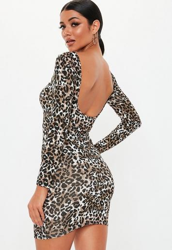 Multi Leopard Print Long Sleeve Bodycon Dress Missguided