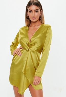 Satin Wrap Dresses c5eb6f629