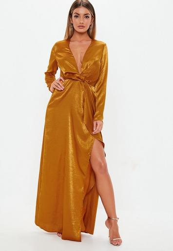 Rust Wrap Front Satin Maxi Dress Missguided