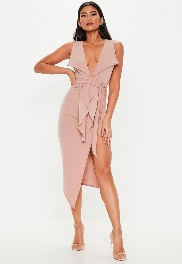 448a78f7b6 Pink Plunge Tailored Wrap Tie Midi Dress