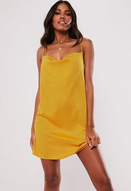 00561da78051 ... Mustard Satin Strappy Cowl Shift Dress