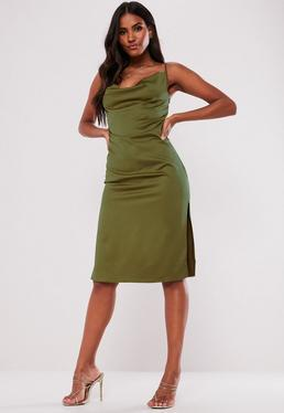 Plus Size Multi Floral Wrap Midi Dress · Khaki Satin Strappy Cowl Midi Dress 4c5d34623