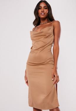 ab31ee3caa7 Mocha Satin Strappy Cowl Midi Dress
