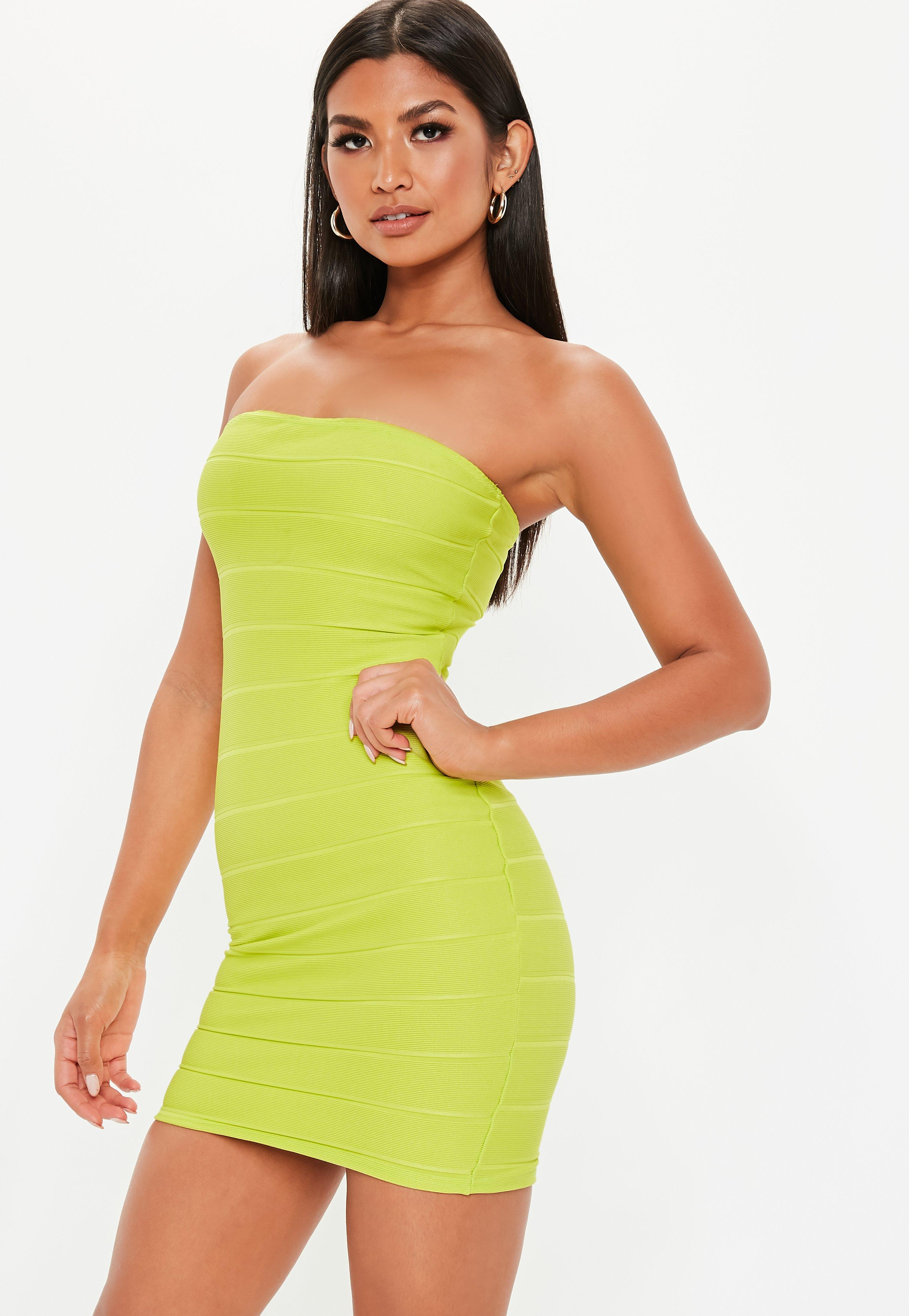 87ad92a2ec Lime Green Bandage Bandeau Mini Dress