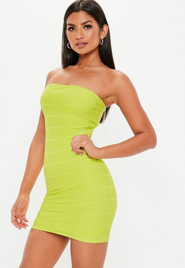 Lime Green Bandage Bandeau Mini Dress by Missguided