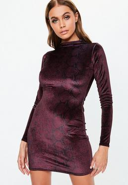 purple high neck snake velvet mini dress