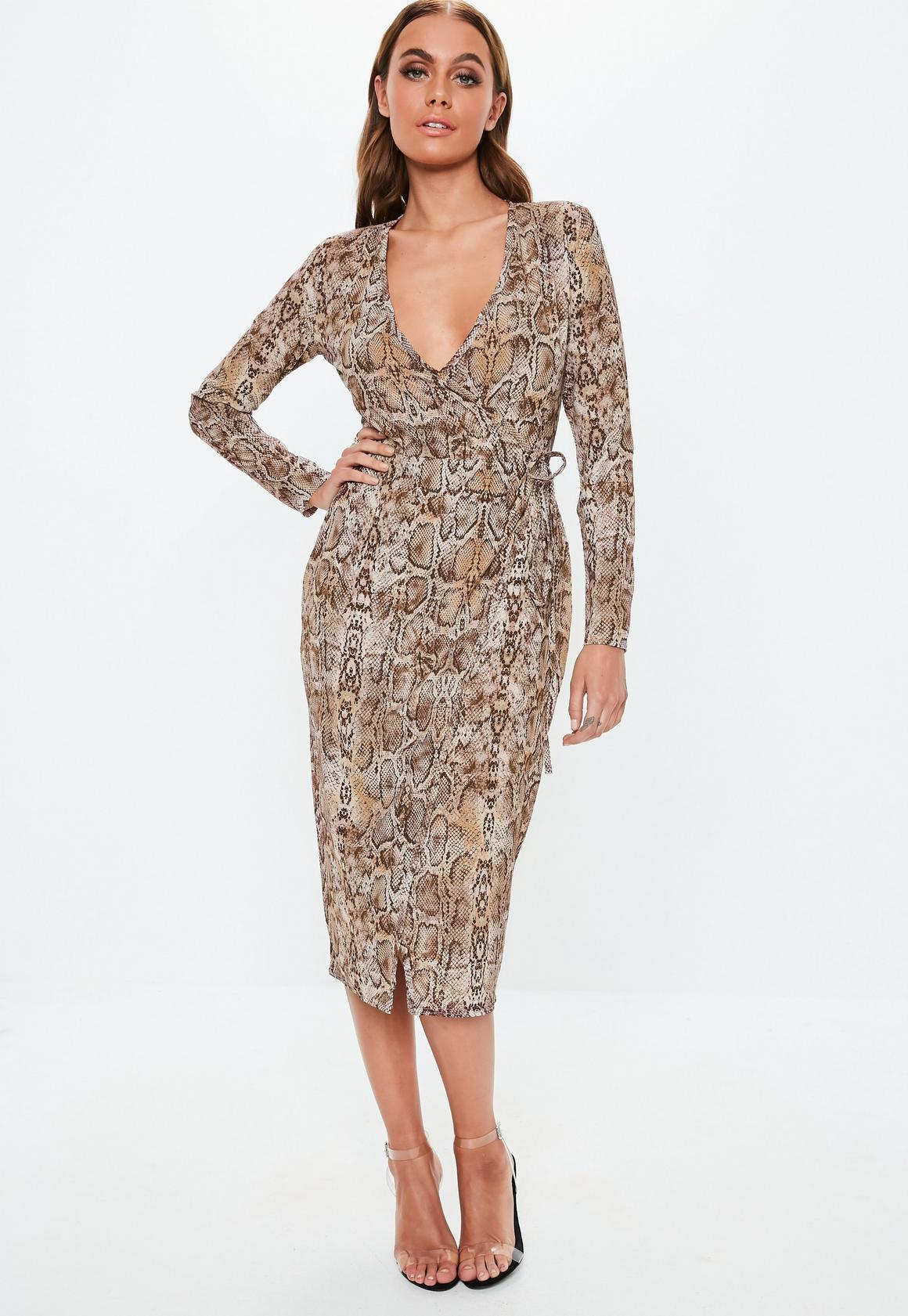 Missguided - robe midi portefeuille marron à imprimé serpent - 1
