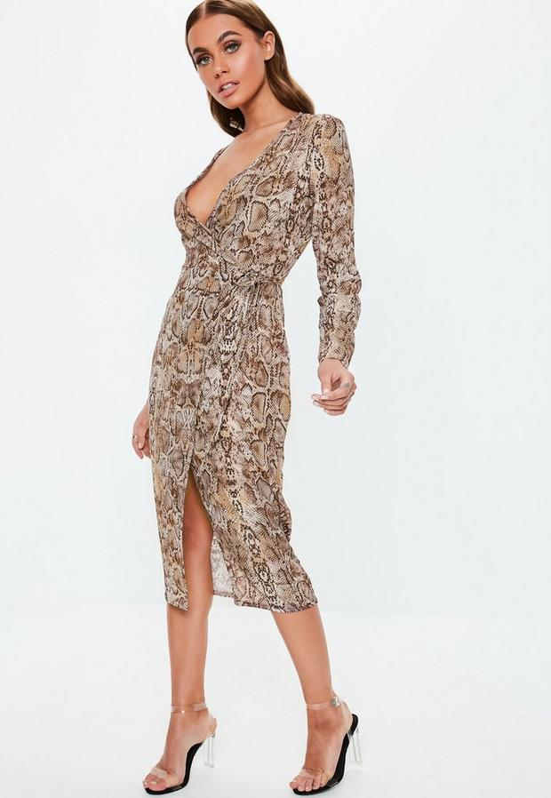 Missguided - Snake Print Wrap Midi Dress - 2