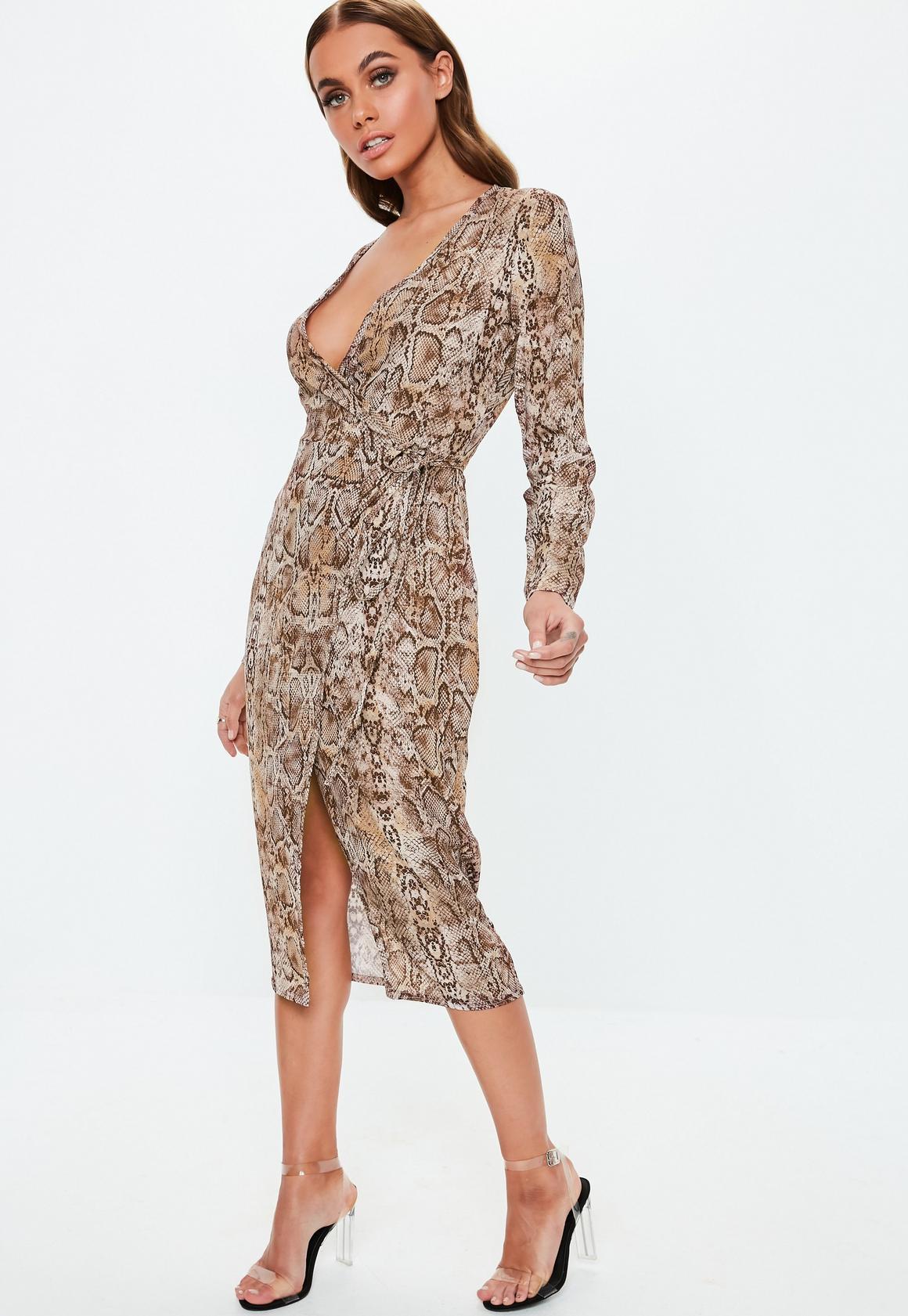 Missguided - robe midi portefeuille marron à imprimé serpent - 2