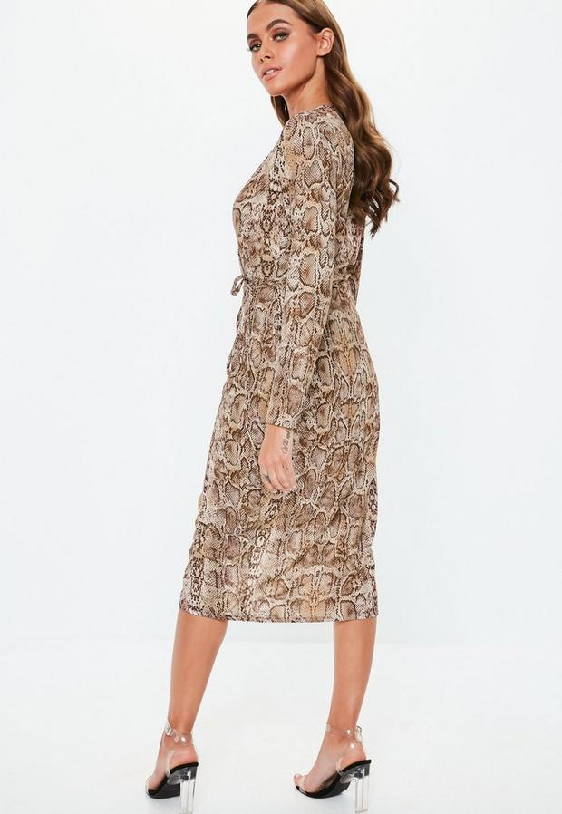 Missguided - Snake Print Wrap Midi Dress - 4