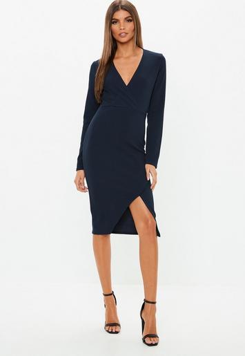 Navy Long Sleeve Wrap Midi Dress Missguided Ireland