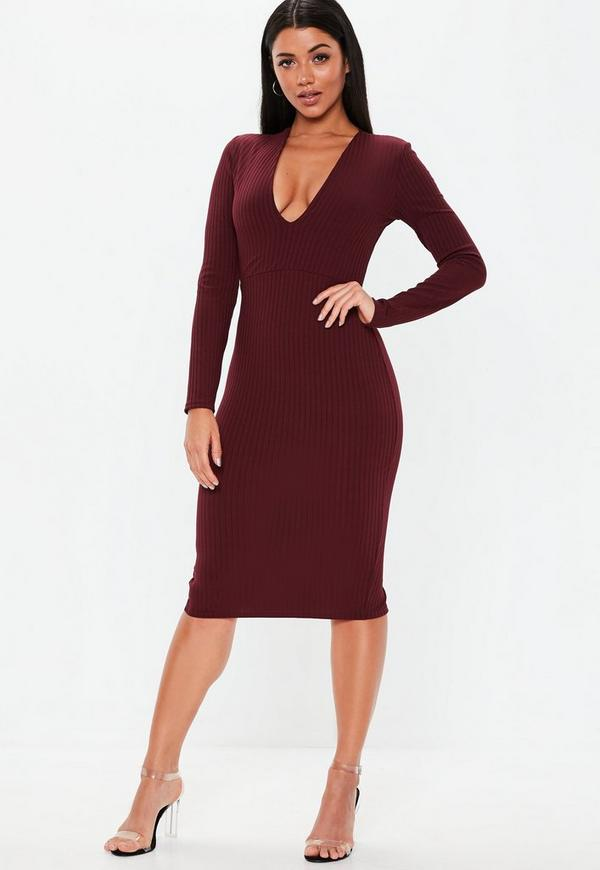 Burgundy Plunge Ribbed Slinky Midi Dress  029558970