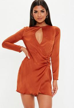 Orange Shift Dresses Womens Orange Shift Dresses Online Missguided