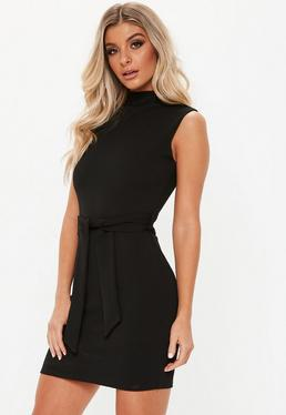 000dad6fa6 Black High Neck Tie Waist Mini Dress