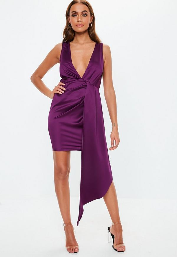 e2e644e55e ... Purple Satin Plunge Drape Mini Dress. Previous Next