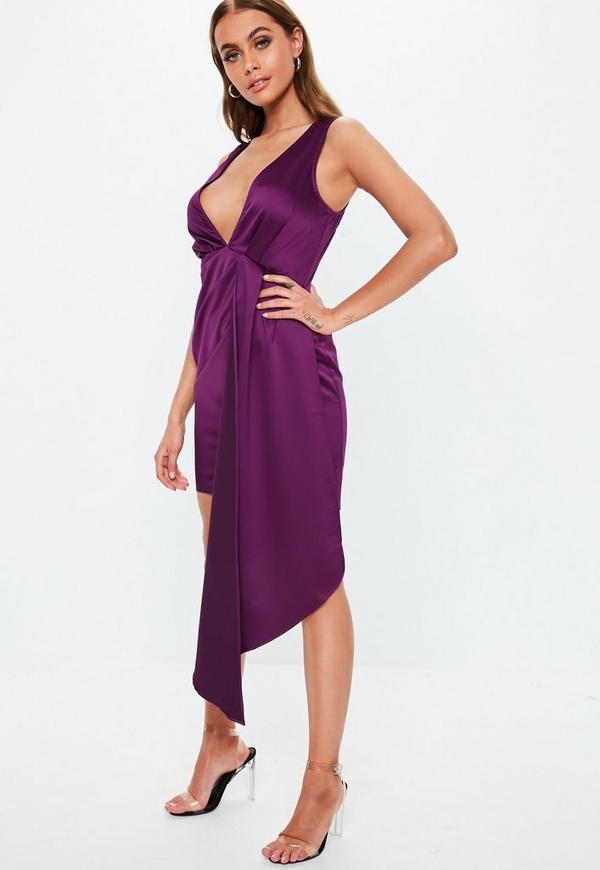 9e343d2d5f Purple Satin Plunge Drape Mini Dress. Previous Next