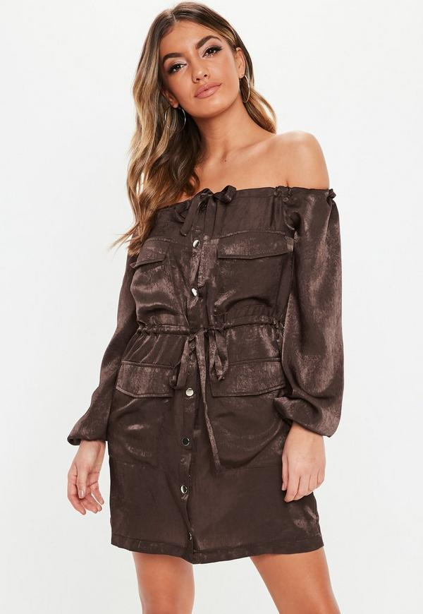 Chocolate Satin Bardot Oversized Utility Dress by Missguided