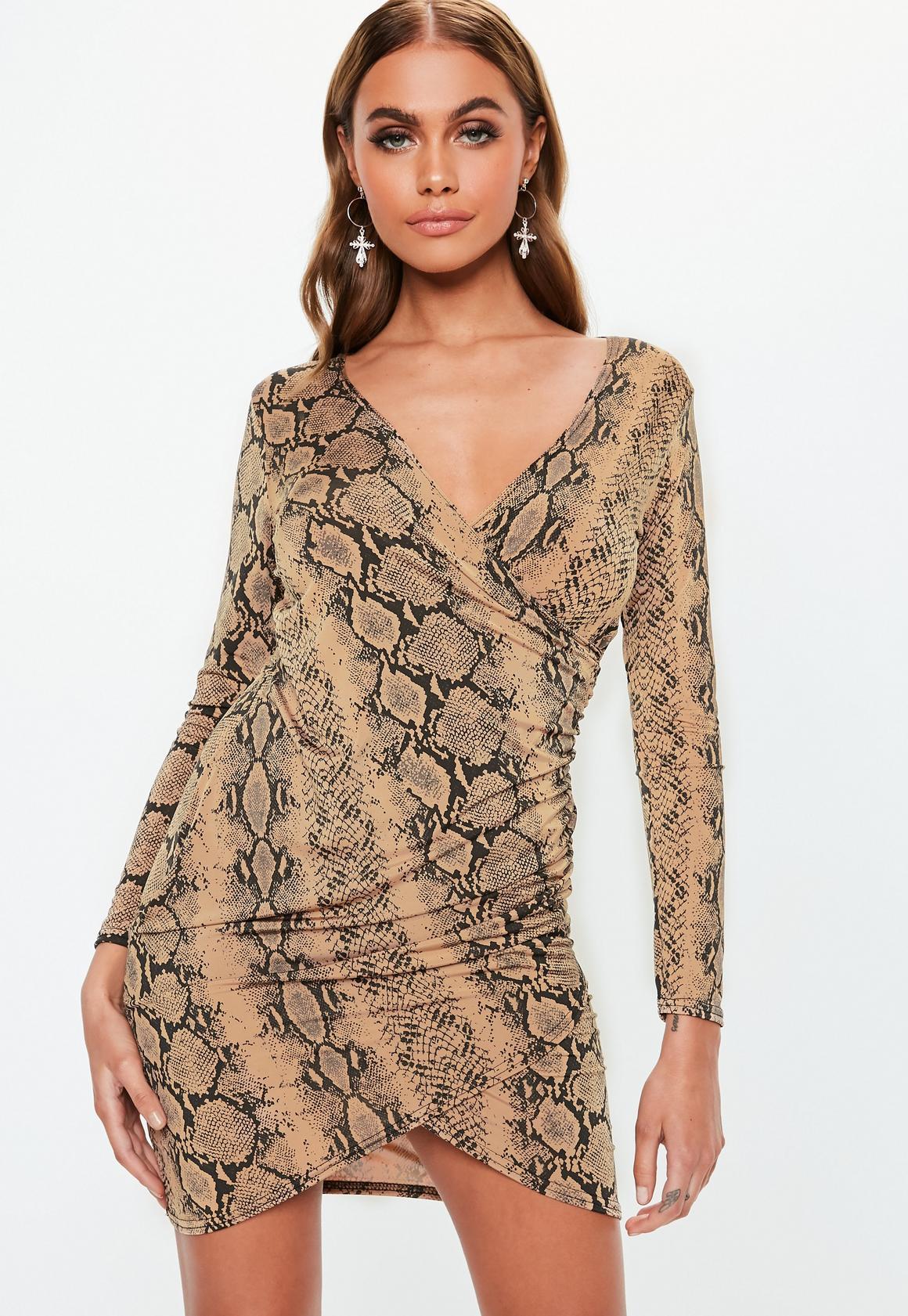 Missguided - robe asymétrique courte camel à imprimé serpent - 1