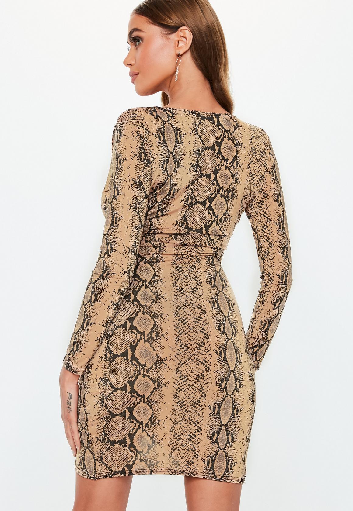Missguided - robe asymétrique courte camel à imprimé serpent - 4