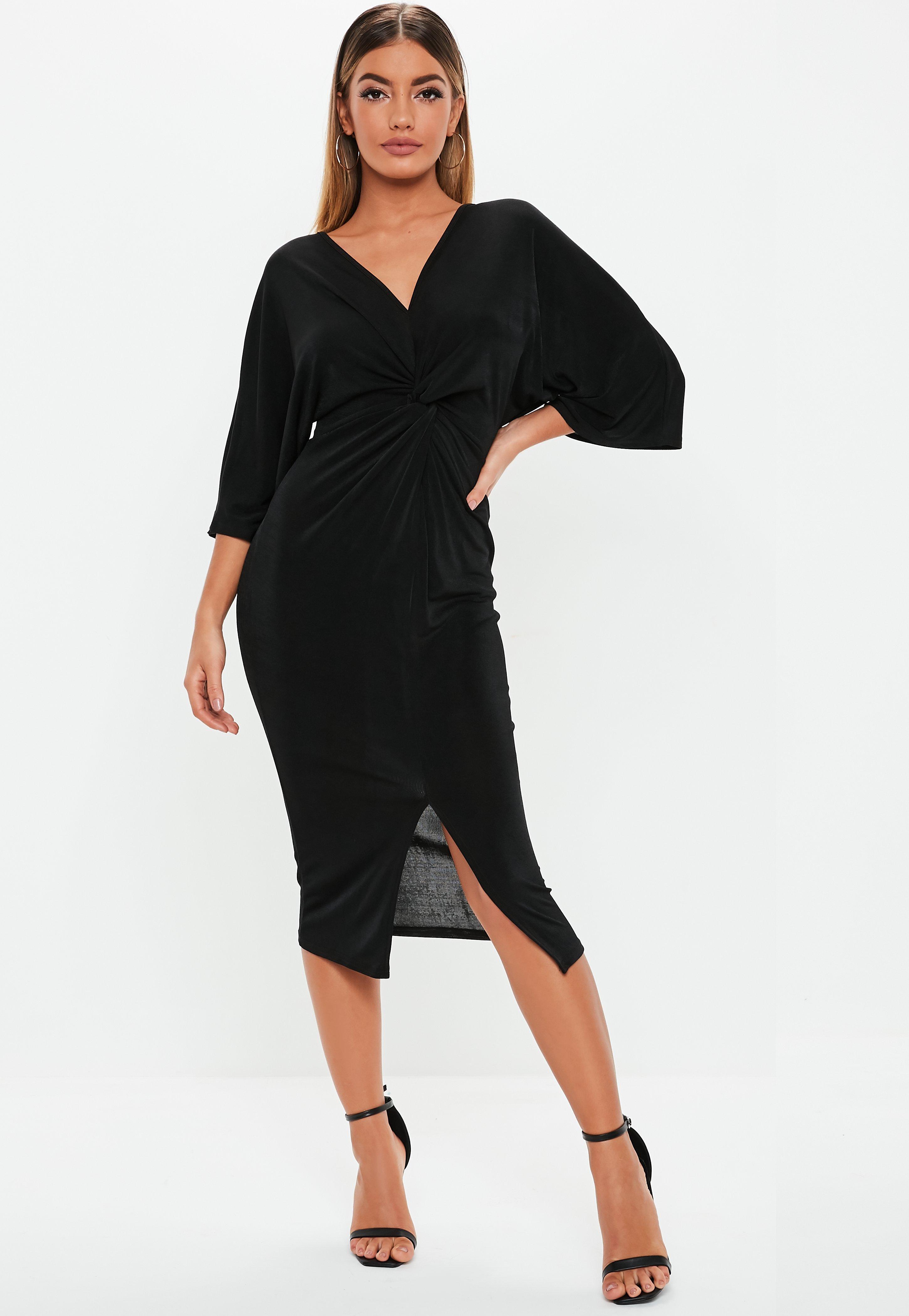 d4f2dcea6924 Black Kimono Sleeve Twist Front Bodycon Midi Dress | Missguided