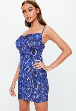 Blue Snake Print Slinky Cowl Mini Dress