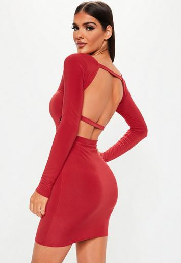 Red Long Sleeve Open Back Dress Missguided