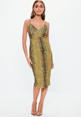 fbafe06509a ... Vestido midi estampado serpiente en dorado