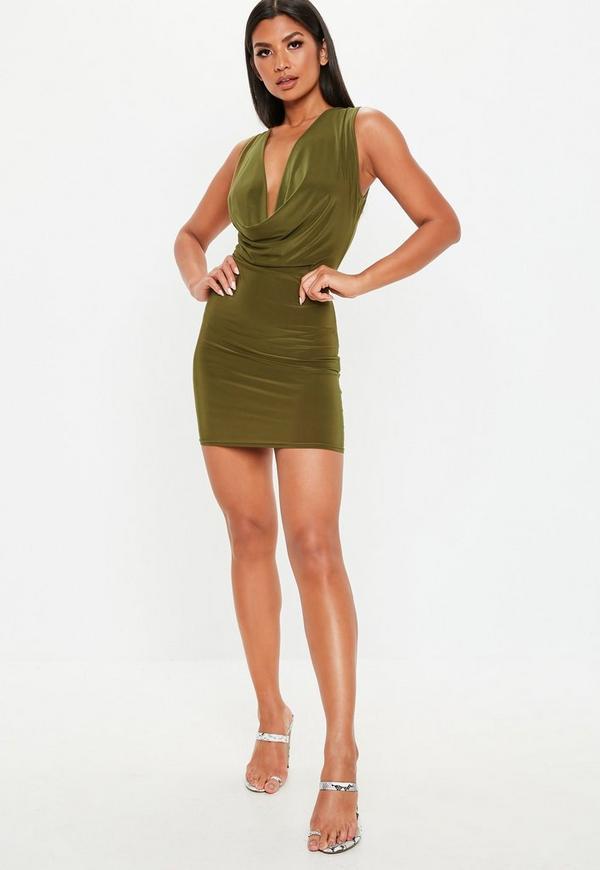 Khaki Double Layer Deep Cowl Mini Dress Missguided