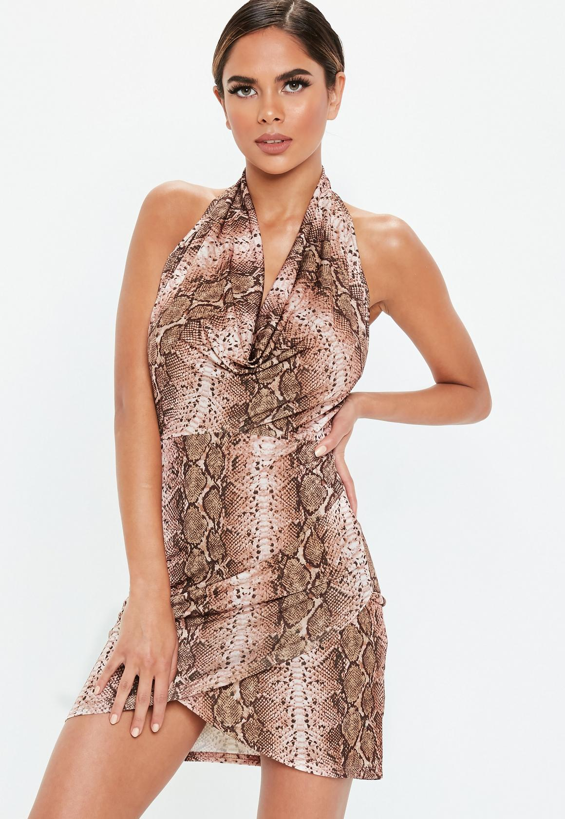 Missguided - robe dos-nu courte marron à imprimé serpent - 1