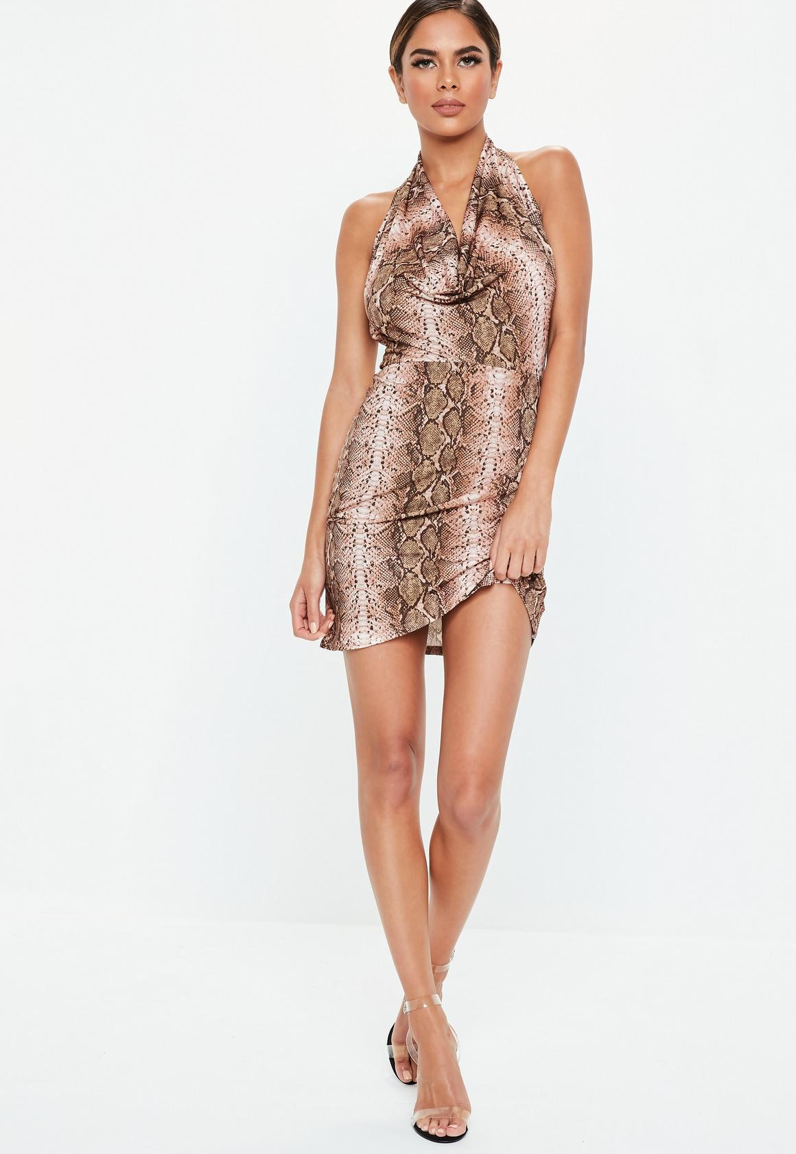 Missguided - robe dos-nu courte marron à imprimé serpent - 2