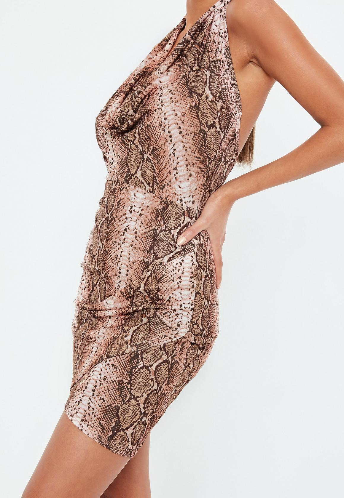 Missguided - robe dos-nu courte marron à imprimé serpent - 3