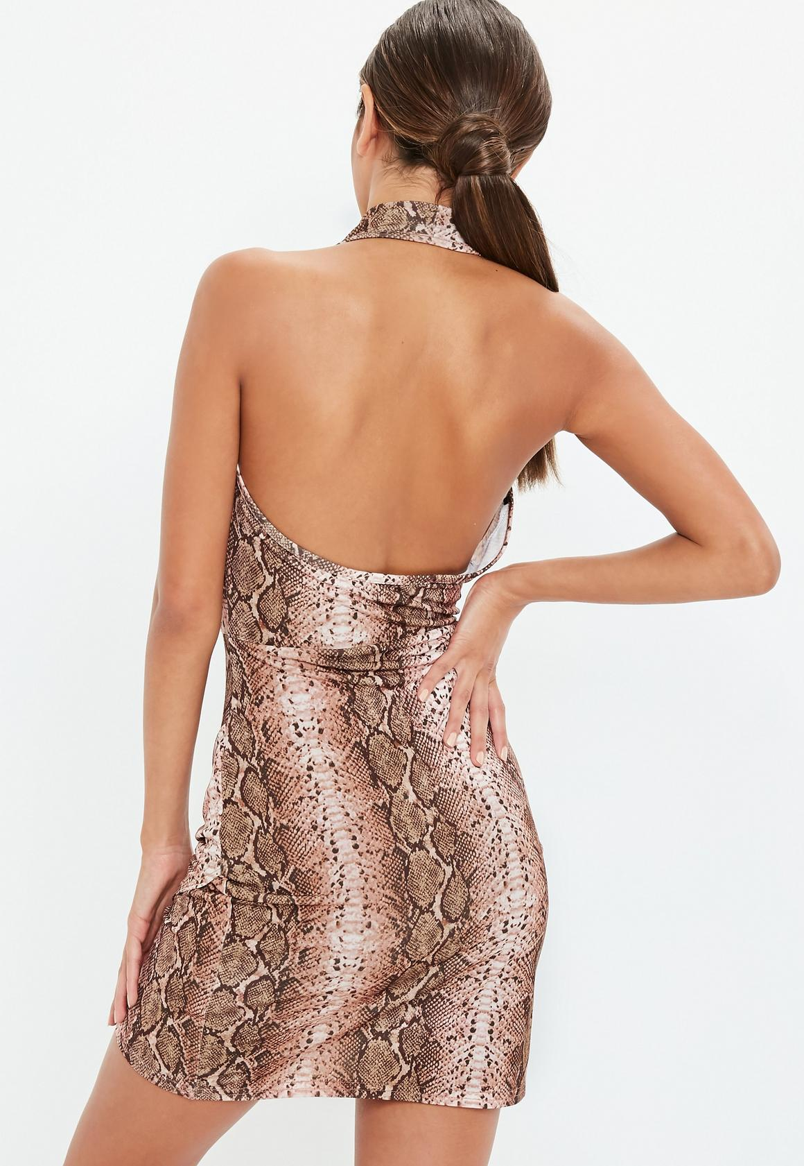 Missguided - robe dos-nu courte marron à imprimé serpent - 4