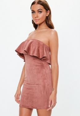 20f779368ff ... Rose Faux Suede Bandeau Bodycon Mini Dress