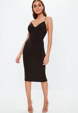 cececab8a0d4 ... Brown Slinky Strappy Midi Dress