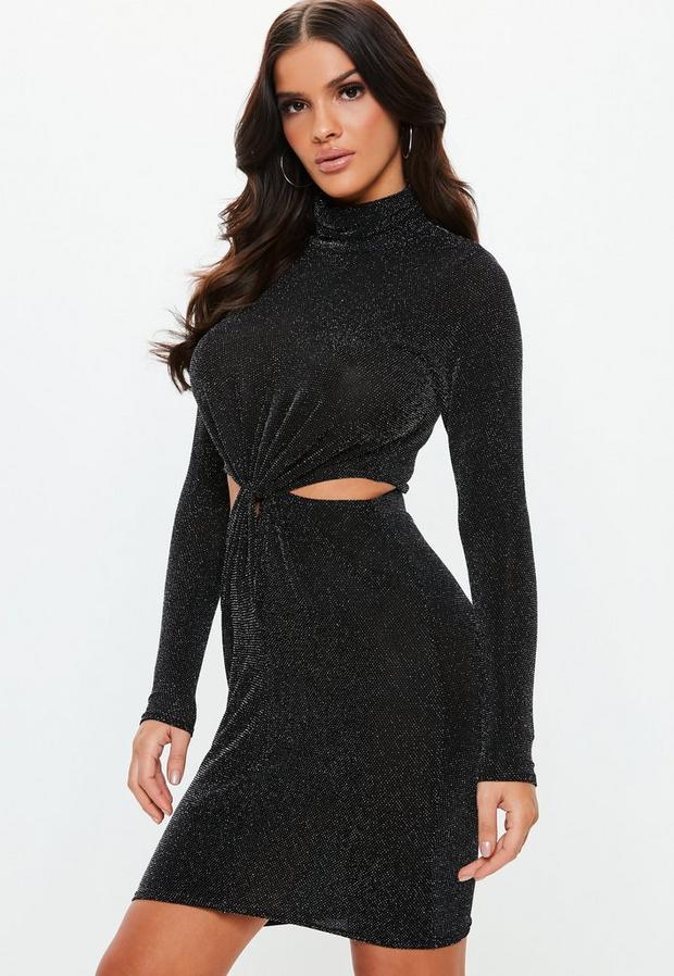 Missguided - Cut Out Knot Waist High Neck Mini Dress - 1