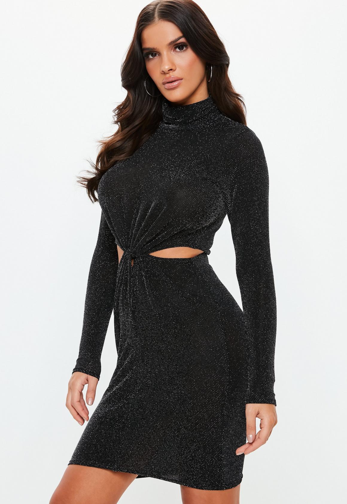 Missguided - robe courte e brillante à découpes et col haut - 1